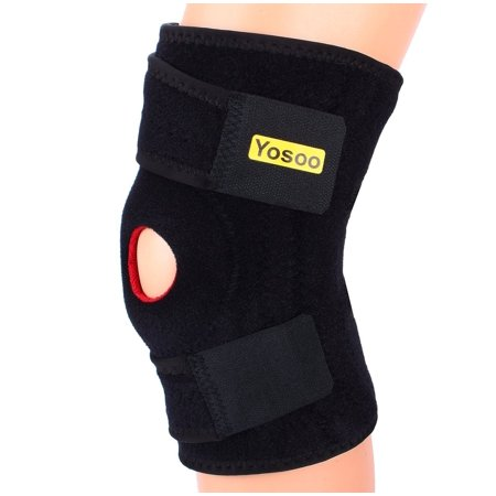 Filfeel Hinged Knee Brace Adjustable Open Patella Support Elast Neoprene Knee Wrap Athletic Compression Wrap for Running, Wrestling, Arthritic Joint, ACL, Tendon, Ligament and Meniscus