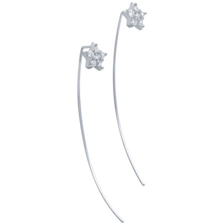 Cubic Zirconia Pave Slip through Wire Star Earrings Rhodium Plated Sterling Silver