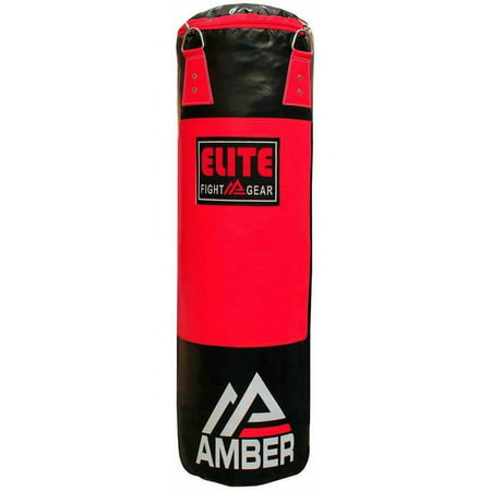 Amber Elite Boxing Filled Heavy Bag Kickboxing MMA Muay Thai Fitness Workout Training Red/Black, 70 lb Elite Training Bag