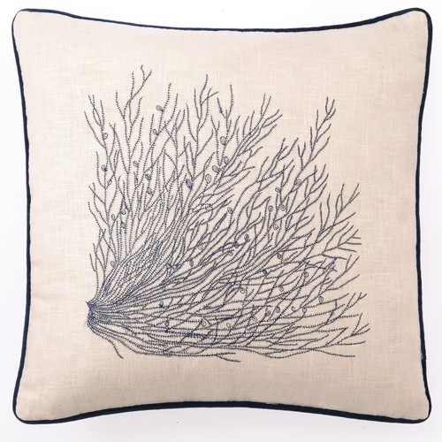 D.L. Rhein Embroidered Sea Grass Linen Throw Pillow