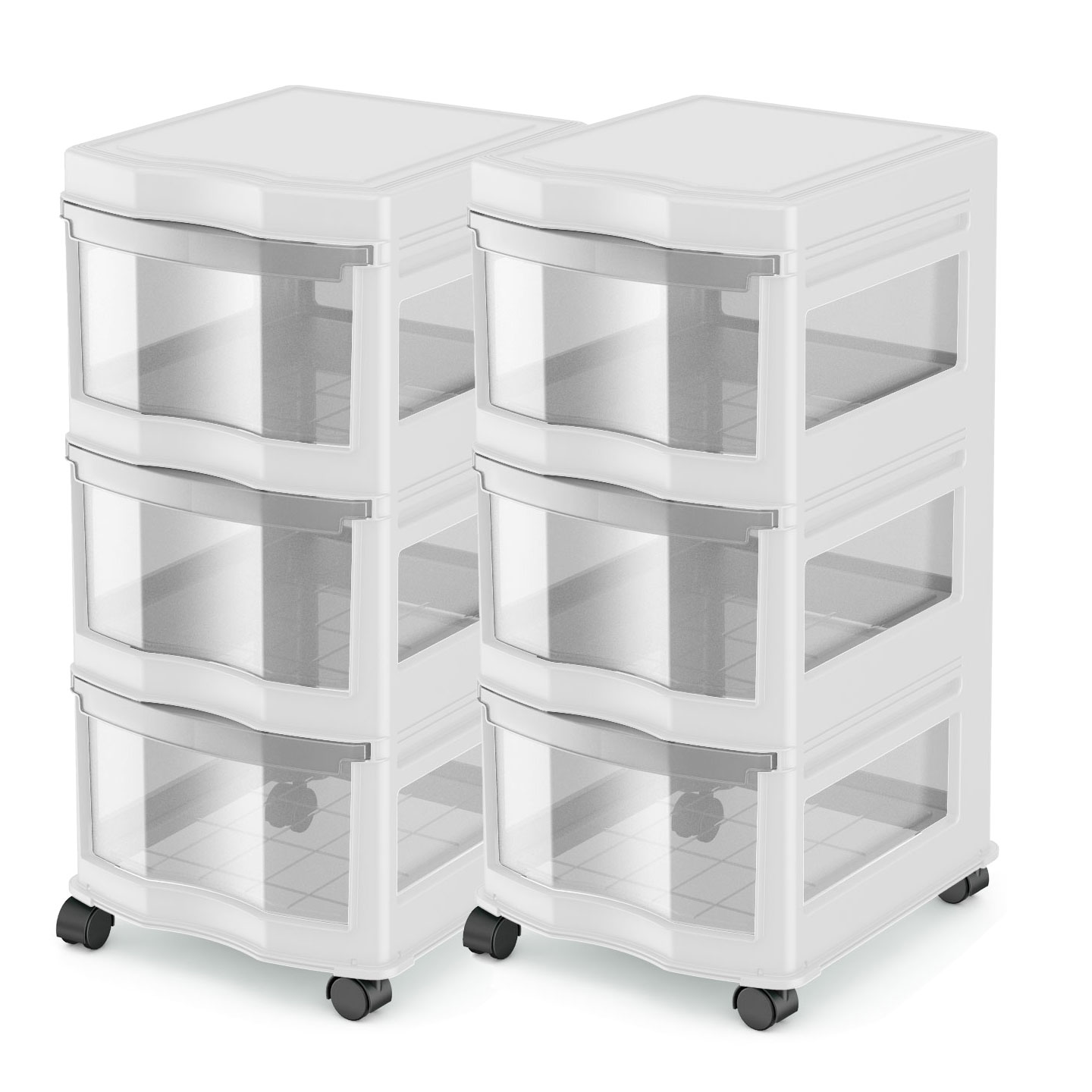Life Story Classic 3 Shelf Storage Organizer Plastic Drawers, White (2 Pack) by Life Story