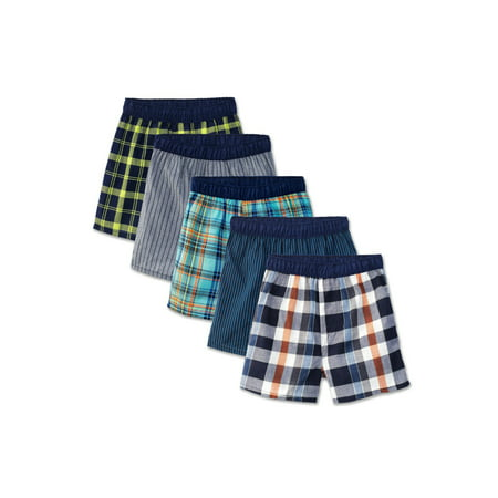 Boys Assorted Covered Waistband Boxers, 5 Pack