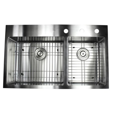 Contempo Living Inc 36-inch Topmount Drop-in Stainless Steel Double bowl  60/40 15mm Radius Kitchen Sink