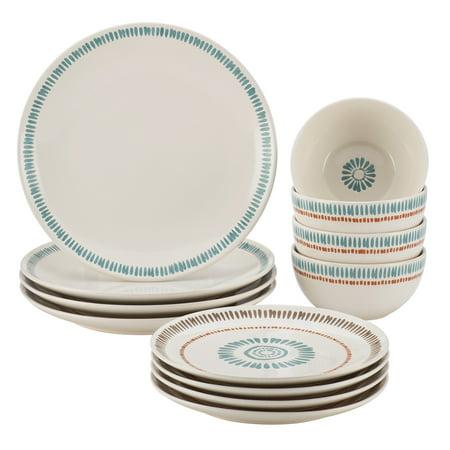 Rachael Ray Cucina Sun Daisy 12 Piece Stoneware Dinnerware