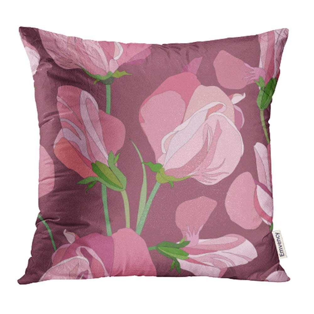 CMFUN Beige Bloom with Lilac and Pink Flowers Sweet Peas Purple Botanical Bouquet Bud Pillowcase Cushion Cover 18x18 inch