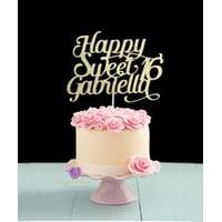 Custom Happy Sweet 16 cake topper
