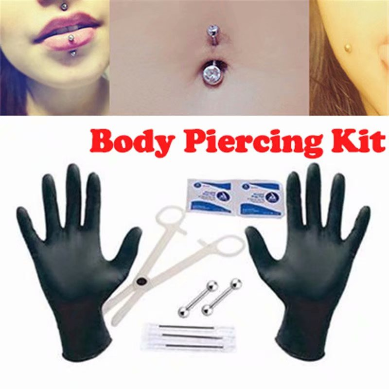 10Pcs/Set Body Piercing Kit Needles 14G Jewelry Tongue Belly Button Ear Nipple Lip Nose Body Piercing Kit