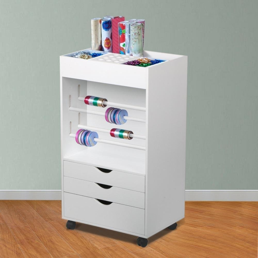 New MTN-G Pro Quality Wood Wrapping Paper Cart With Three...