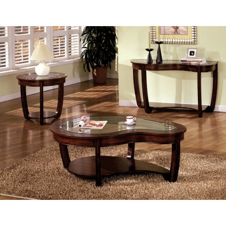 Furniture of America Revels Transitional Glass Coffee Table, Dark Cherry