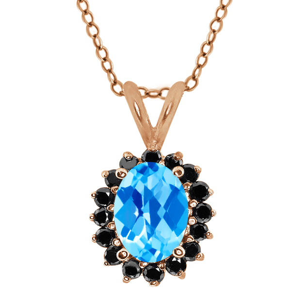 Checkerboard Swiss Blue Topaz Black Diamond Gold Plated Silver  Pendant 1.92 Cttw With 18 Inch Chain
