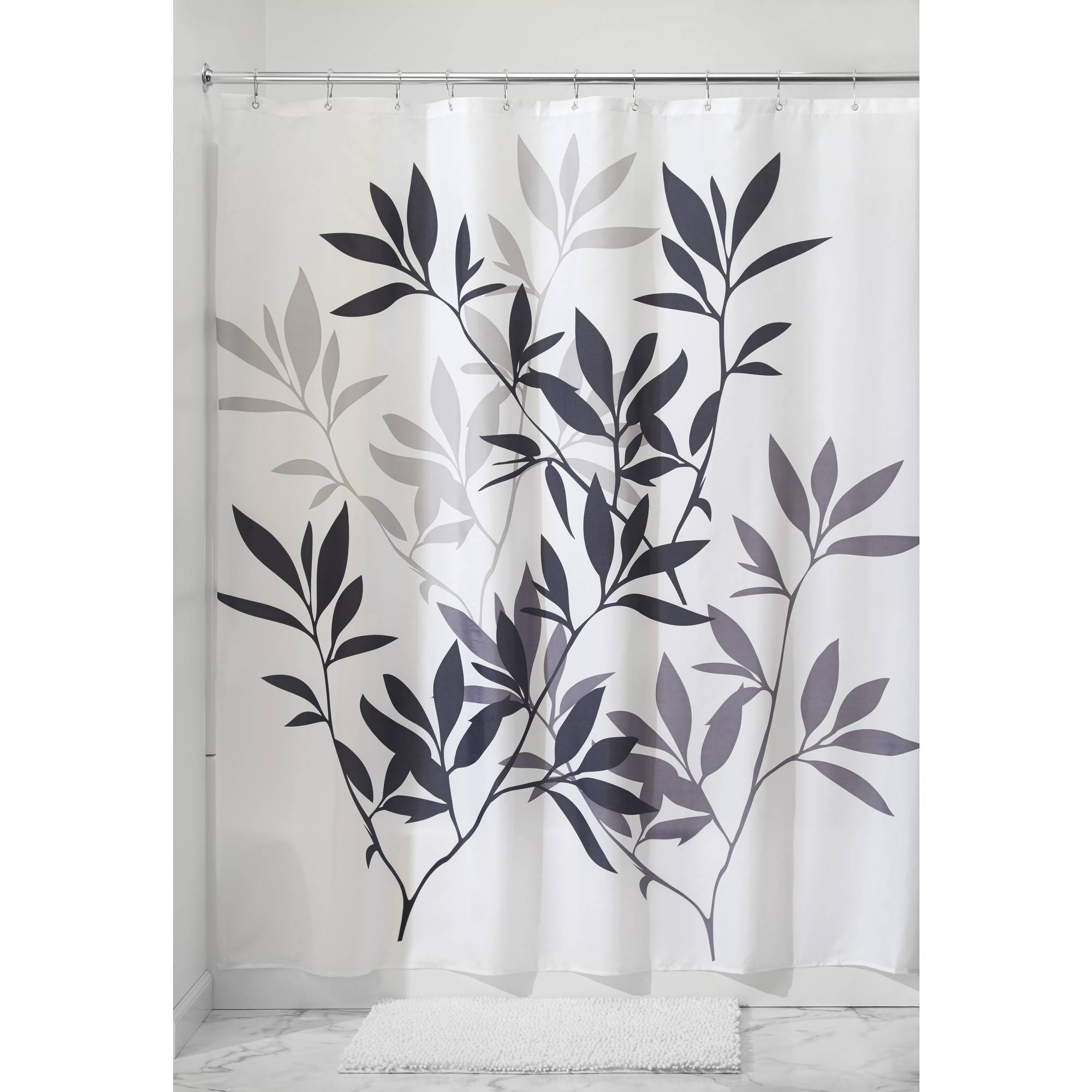 InterDesign Leaves Fabric Shower Curtain, Various Sizes & Colors ...