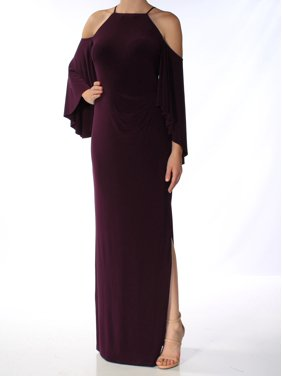 2f4743cba9a2 Product Image RALPH LAUREN Womens Purple Slitted Cold Shoulder Bell Sleeve  Crew Neck Full-Length Shift Formal