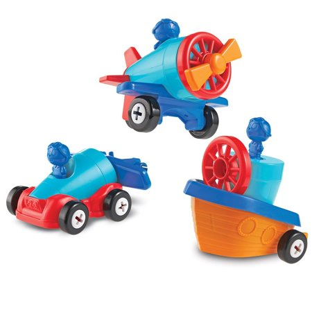 Learning Resources 1-2-3 Build it! Car, Boat, Plane, 15 Pieces (Build A Toy Car)