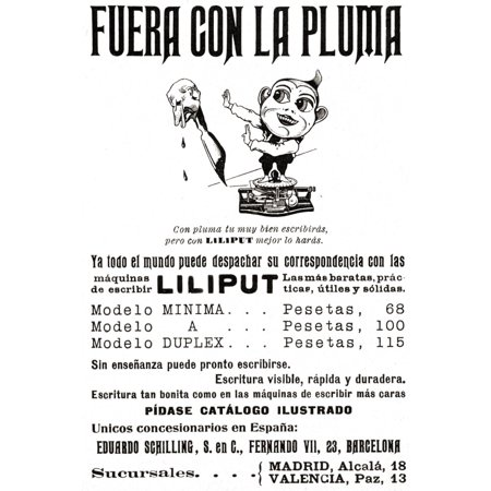 Spanish Advertisement For Liliput Typewriters. The Headline Reads, Out With The Pen! From Ilustraci_n Cat_lica, Published 1908 Poster Print by Ken Welsh / Design Pics Spanish Advertisement For Liliput Typewriters. The Headline Reads, Out With The Pen! From Ilustraci_n Cat_lica, Published 1908 was printed on Premium Heavy Stock Paper and the available sizes and options for this image are listed above. Perfect for any room!