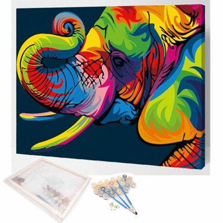 DIY Painting By Numbers Kit Elephant Paint Animal Home Wall Decor Wooden Framed