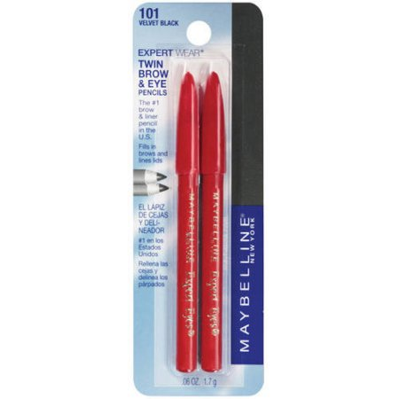 Maybelline New York Expert Wear Twin Brow & Eye Pencils, Velvet Black, 0.06 Oz