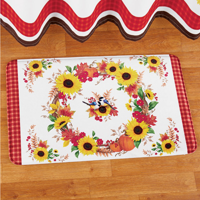Collections Etc Sunflowers Bath Mat with Fall Leaves, Pumpkins and Flowers Wreath Design, Skid-Resistant, White, Burgundy, Yellow, Orange and Green Fall Décor