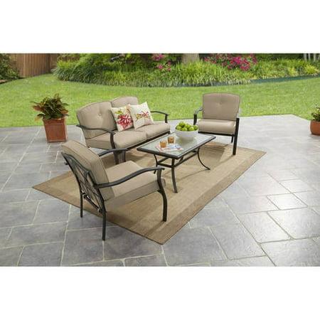 Mainstays Belden Park 4-Piece Outdoor Sofa Set for Patio, Beige, Seats 4