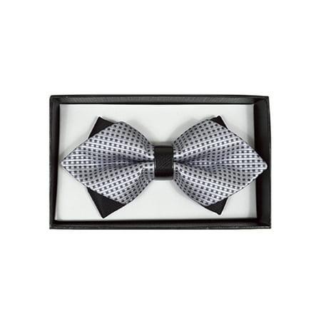 Men's Silver Geometric Diamond Tip Bow Tie - DBB3030-30](Silver Bow Tie)