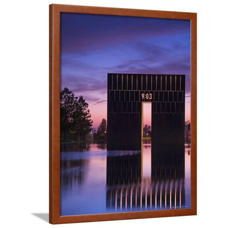 Gate of Time and Reflecting Pool, Oklahoma City National Memorial Framed Print Wall Art By Richard Cummins - Pool City Cranberry