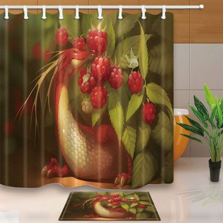 BPBOP Animal Decor Fruit Dragon Eat Mulberry Against Green Leaves Shower Curtain 66x72 inches with Floor Doormat Bath Rugs 15.7x23.6 inches