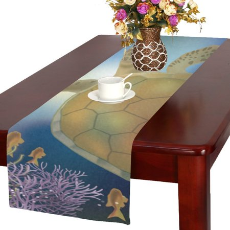 MYPOP sea turtle Table Runner 16x72 inches