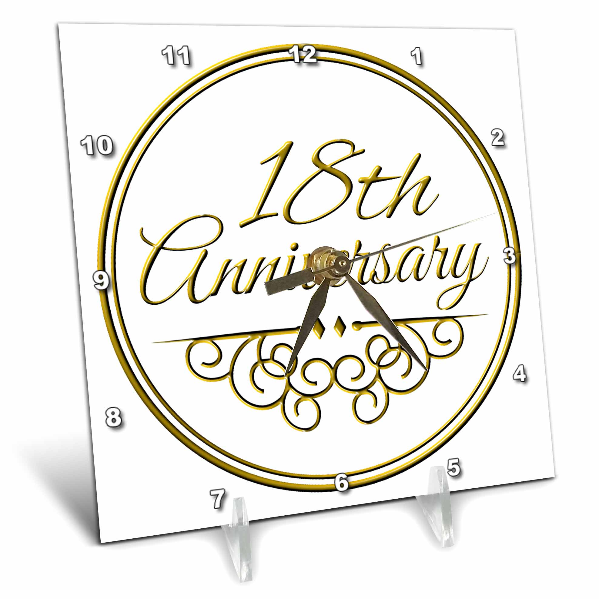 3dRose 18th Anniversary gift gold text for celebrating wedding anniversaries 18 years married together, Desk Clock, 6 by... by 3dRose