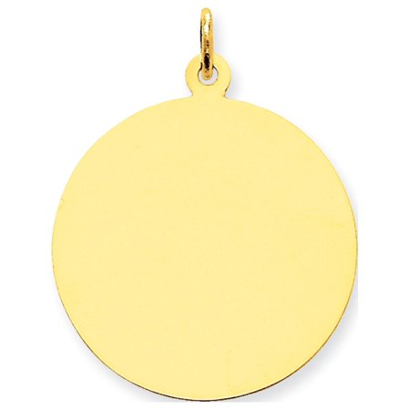 Leslies Fine Jewelry Designer 14k Yellow Gold Plain .013 Gauge Circular Engravable Disc (25x33mm) Pendant Gift - Gold Circular Pendant