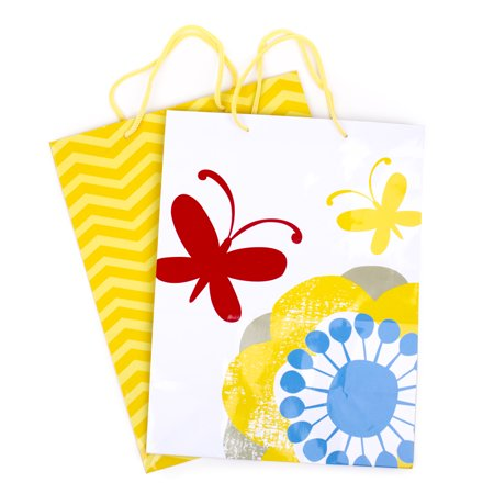 Hallmark Large Gift Bag Set for Birthdays, Baby Showers or Any Occasion (Pack of 2; Yellow Chevrons & Flowers with Butterflies) - Birthday Return Gifts