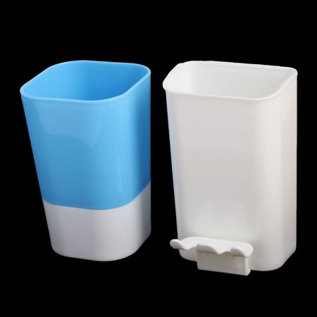 Bathroom Plastic Wall-mounted Design Toothbrush Holder Cup Blue White 2 in 1 - image 3 of 5