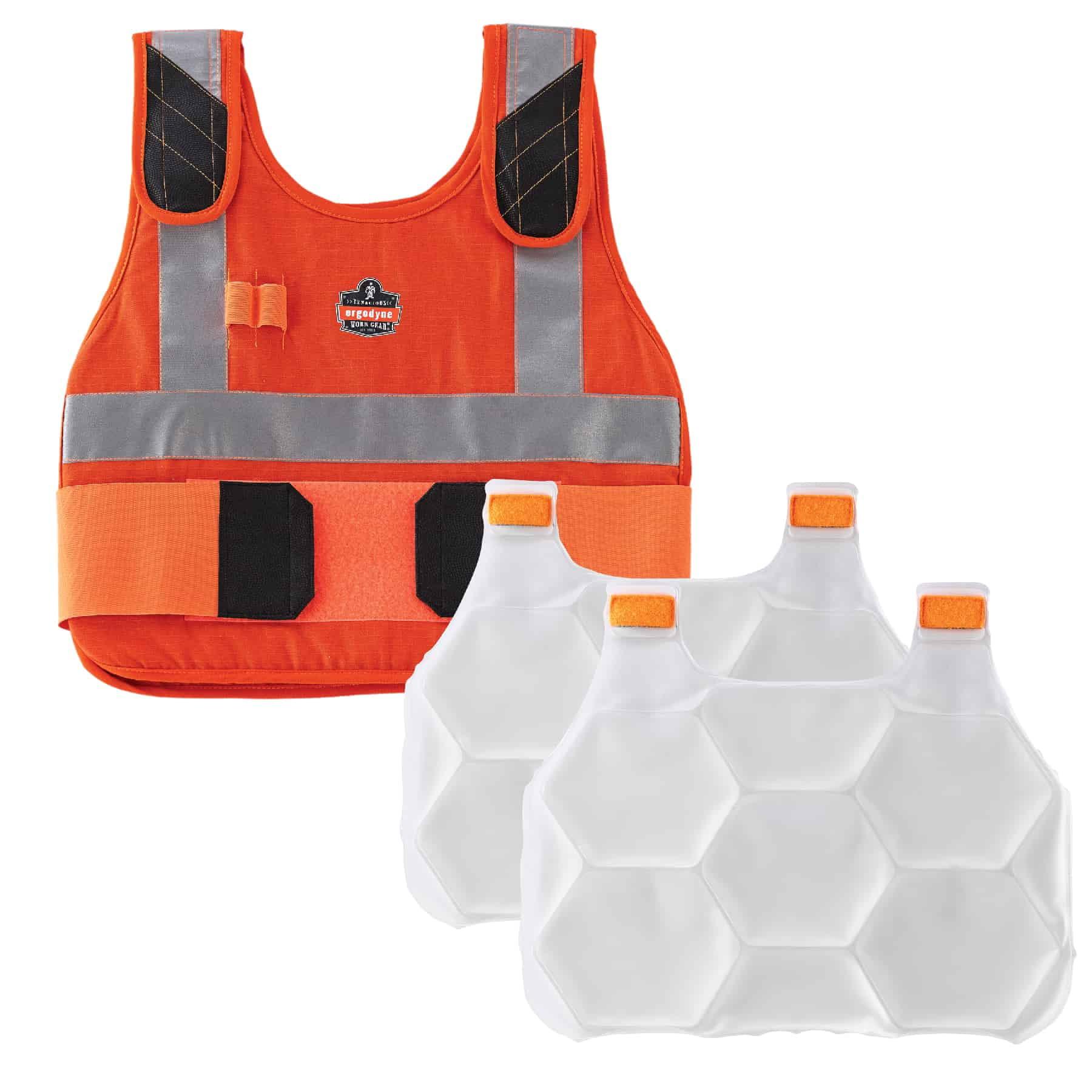 Ergodyne Chill-Its® 6215 Premium FR Phase Change Cooling Vest with Packs, Orange, L/XL