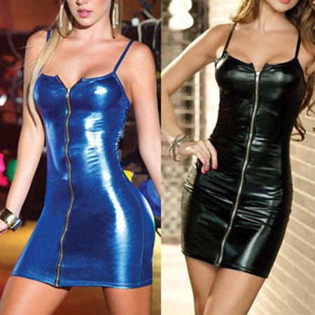(Asian Size)Women Sexy Wetlook Front Zipper Faux Leather Bodycon Sling Sheath Dress Clubwear
