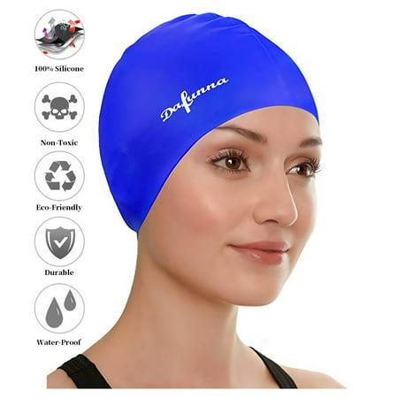 Swimming Cap for Long Hair, Silicone Swim Cap for Dreadlocks or Short Hair for Adults Men Women Girls Kids Child