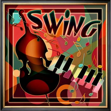 Swing Music Framed Giclee Print Wall Art - 17x17