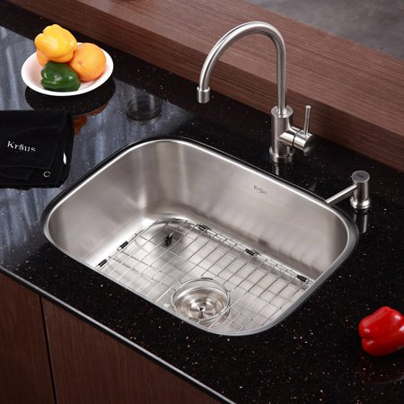 Kraus KBU12-KPF2160-SD20 Single Basin Undermount Kitchen Sink with ...