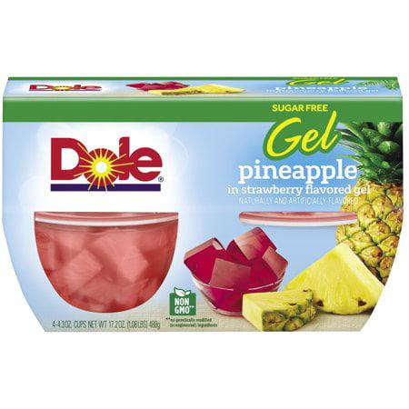 Petite Pineapple - (3 Pack) Doleî Pineapple in Sugar Free Strawberry Gel 4-4.3 oz. Cups