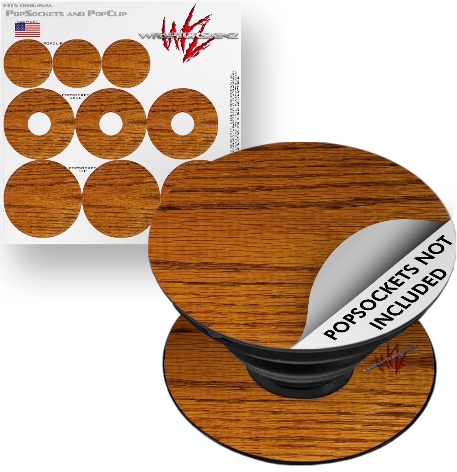 Decal Style Vinyl Skin Wrap 3 Pack for PopSockets Wood Grain - Oak 01 (POPSOCKET NOT INCLUDED) by WraptorSkinz
