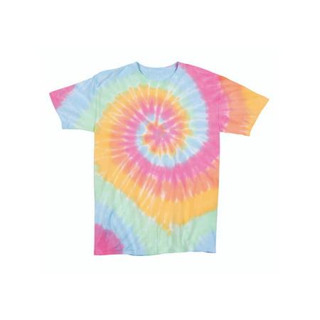 Multi-Spiral Youth Unisex Big Boys Big Girls Tie Dye T-Shirt Tee (Girls Tie Dye Tee)