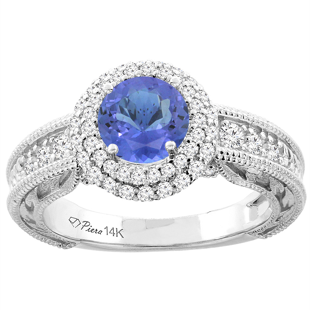 14K White Gold Natural Tanzanite & Diamond Halo Ring Round 6 mm, size 5 by Gabriella Gold