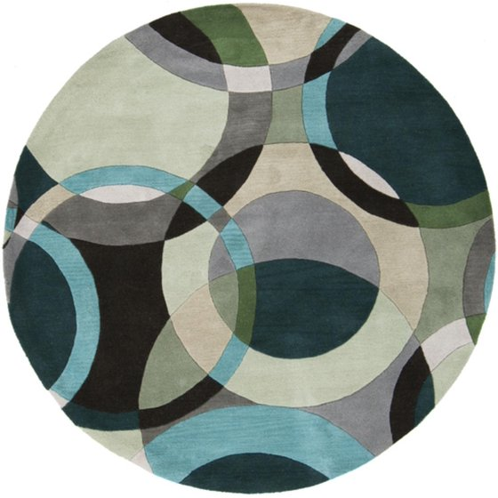 4' Modern Senzei Spheres Gray, Teal And Black Hand Tufted