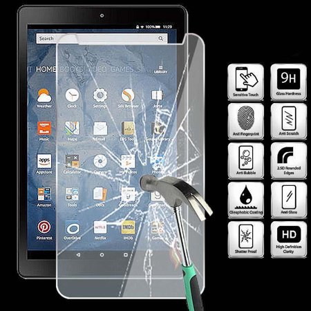 Tempered Glass Screen Protector For Amazon Kindle Fire HD 8 ( New 7th Gen 2017 )