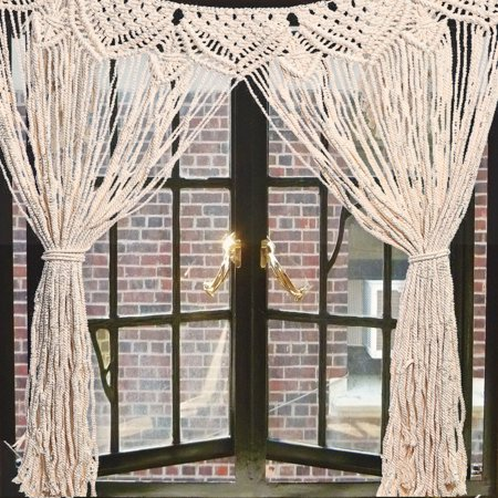 45''x32'' Handmade Bohemian Macrame Woven Wall Hanging Tassel Knitted Tapestry Curtain Door Screen Living Room Home Decor