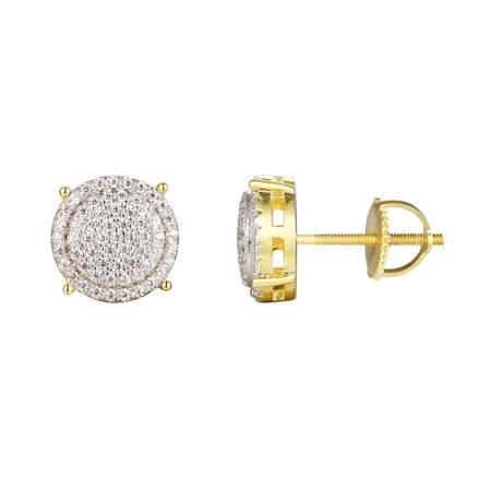 14k Gold Finish Round Earrings 925 Silver Screw Back 10mm Studs Simulated Diamond