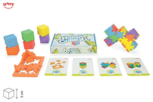 Happy, Happy Cube XL, Set of 6 Foam Puzzle Cubes with 32 Challenge Cards, Ages 5 to 99 by Happy bvba