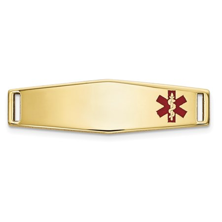 14k Yellow Gold Epoxy Enameled Medical Id Off Ctr Soft Plate # 816 Bracelet For (Medical Jewelry Id Plate)