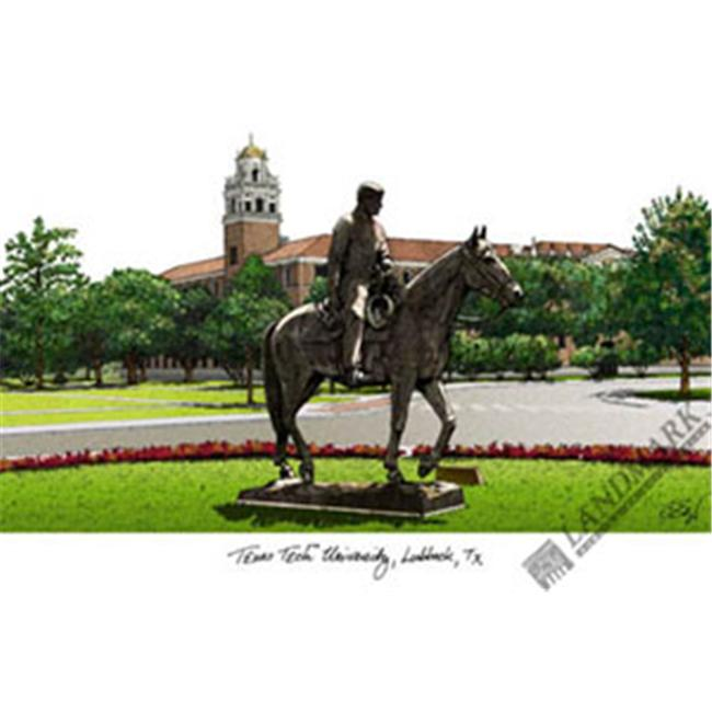 Texas Tech University Campus Images Lithograph Print