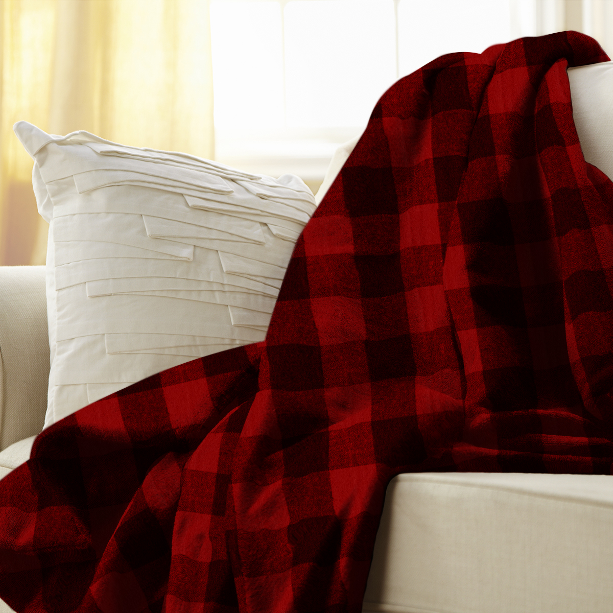 "Sunbeam Heated Electric Microplush Throw Blanket with 3 heat settings, 60"" x 50"", Red Buffalo Plaid"