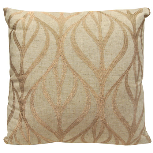 Artistic Linen Leaf Decorated Square Throw Pillow Cover