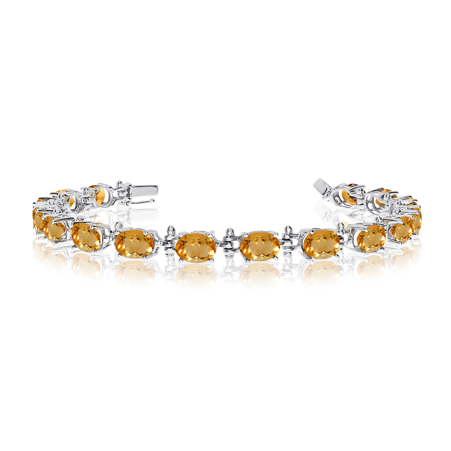 14K White Gold Oval Citrine Tennis Bracelet by