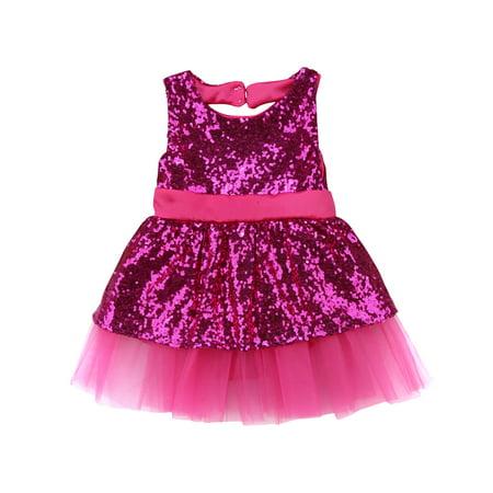 8d7bc578a8681 Toddler Baby Girls Sequin Tutu Dress Princess Party Wedding Lace Backless  Bowknot Skirt Sundress
